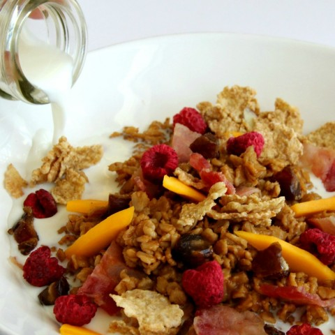 Night Cereal -- Chai Oatmeal with Bacon, Mango, Dates and Raspberries on ShockinglyDelicious.com