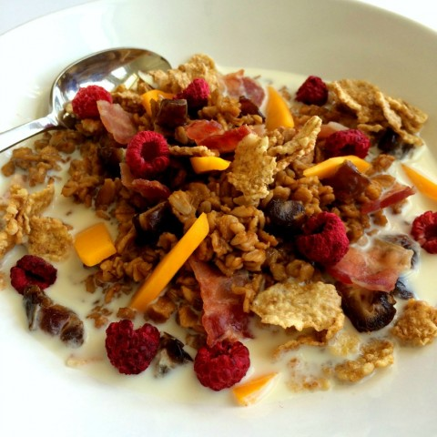 Savory and Sweet Chai Oatmeal with Bacon, Mango, Dates and Raspberries on ShockinglyDelicious.com