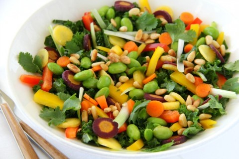 A sprightly, refreshing, gorgeous Chopped Thai Kale Salad, with lots of color, texture and nutrition from the vegetables and a punch of garlicky-gingery-sesame flavor from the dressing.