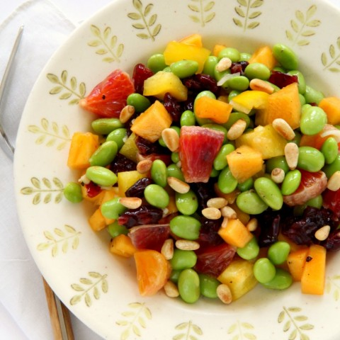 easy-edamame-salad-with-persimmon-peppers-and-pine-nuts-on-shockinglydelicious-com