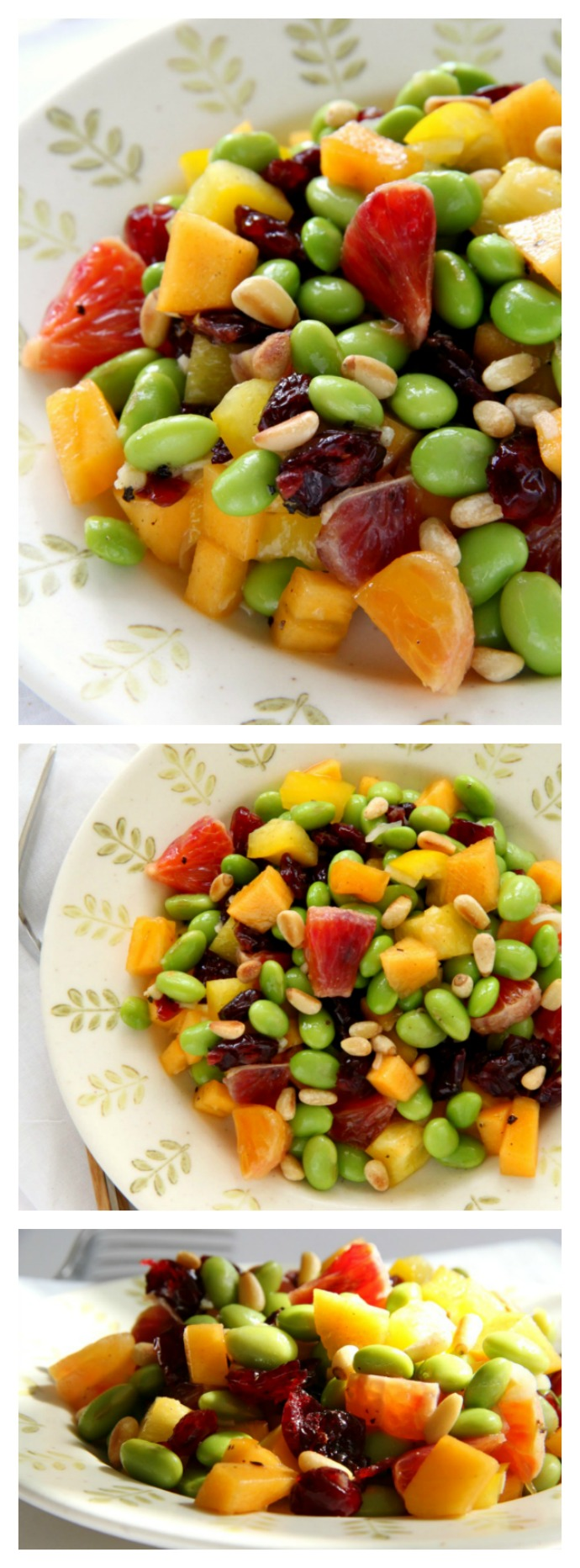 Colorful vegan, gluten-free salad with edamame, persimmon, peppers, pine nuts and blood orange. Recipe-on-shockinglydelicious-com