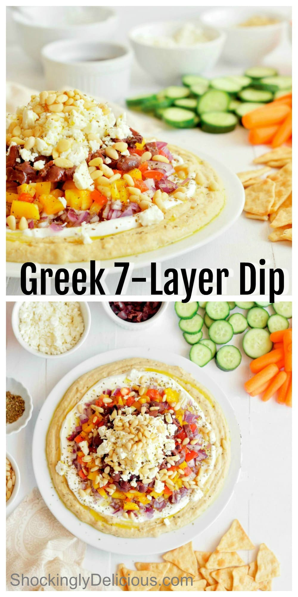 Photo collage of Greek 7-Layer Dip on ShockinglyDelicious.com