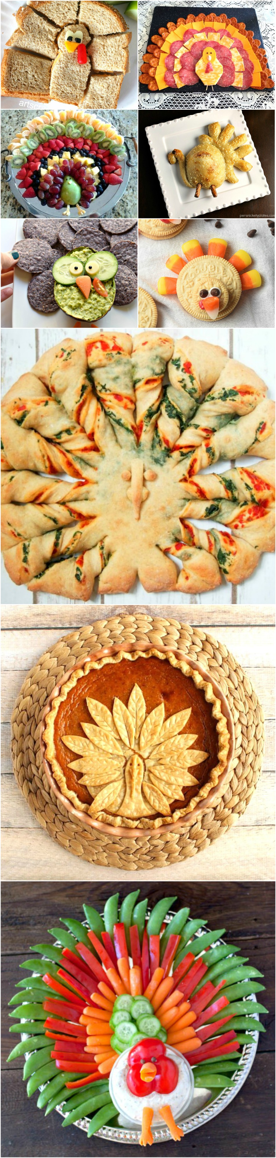 a collage of turkey-shaped food on shockinglydelicious-com