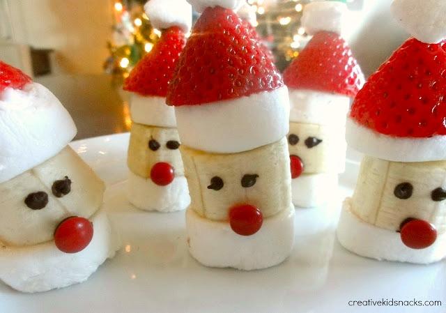 banana chunks decorated like santa-heads
