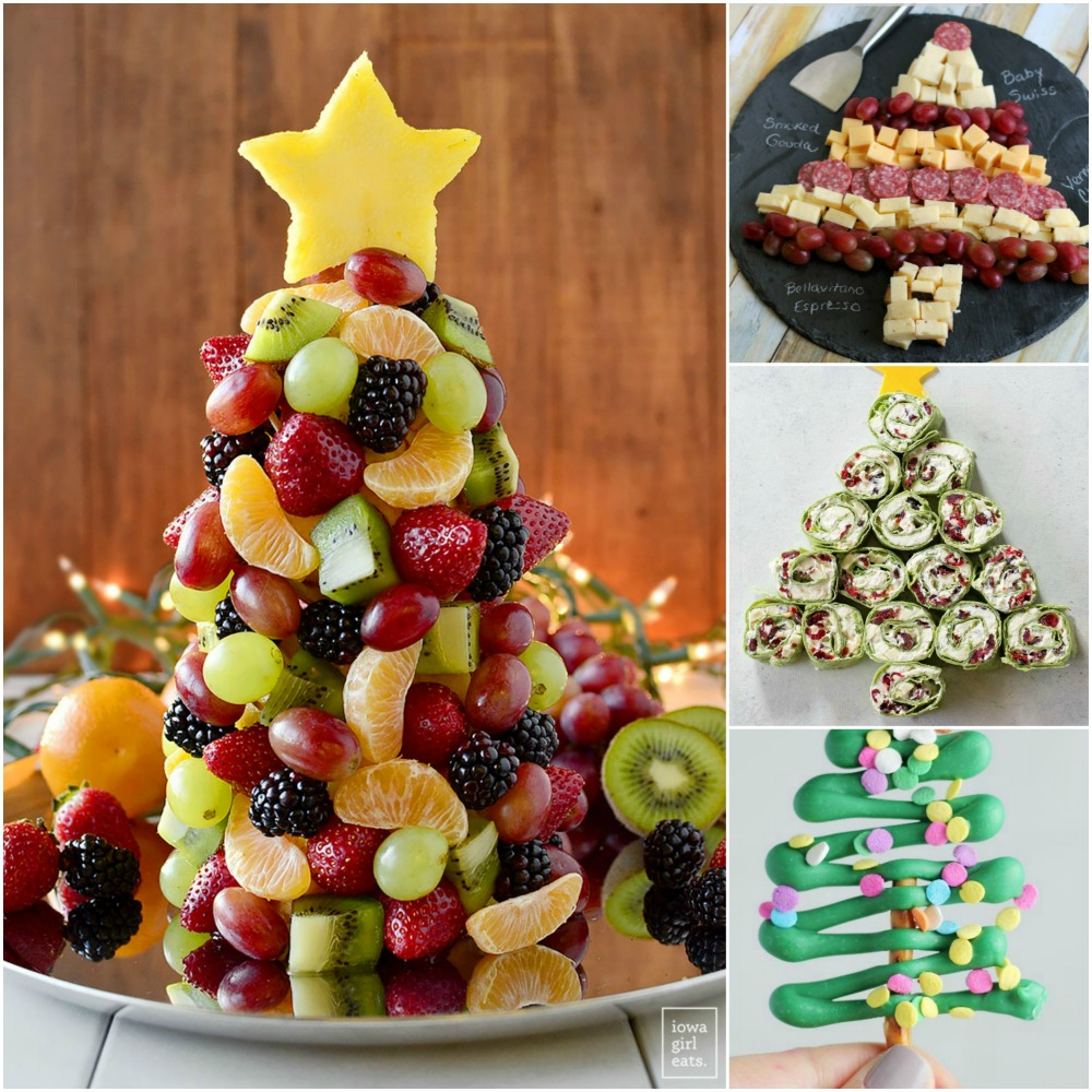 4 picture collage of tree-shaped-food-for-holidays-on-shockinglydelicious-com