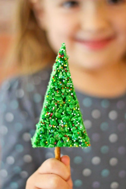 easy-rice-krispie-treat-christmas-trees-Rachel Cooks