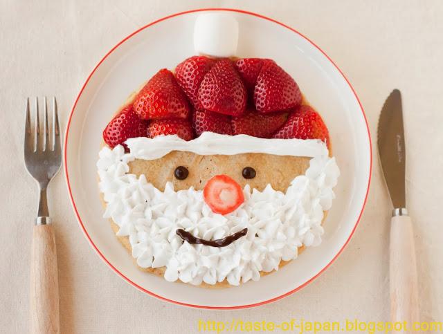 santa-pancake-on a white plate on a white counter