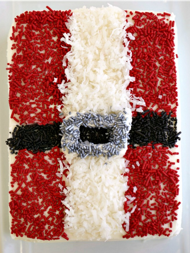 Rectangular cake decorated like Santa suit