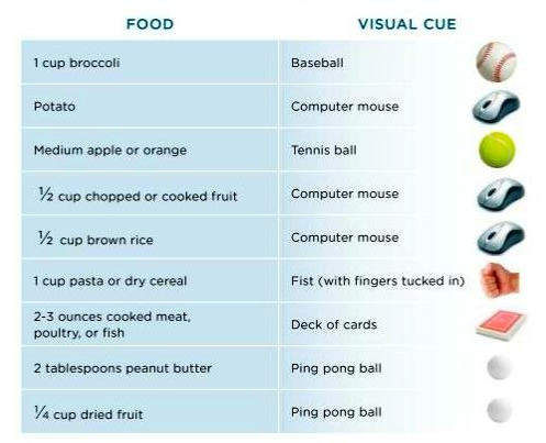 Portion control page from The American Cancer Society New Healthy Eating