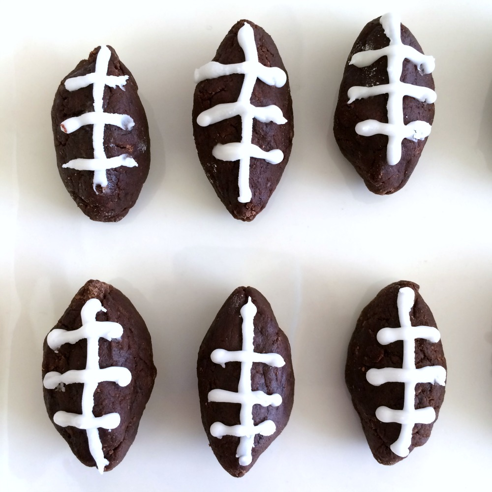 6 pieces of Potato Football Candy on a white background on ShockinglyDelicious.com