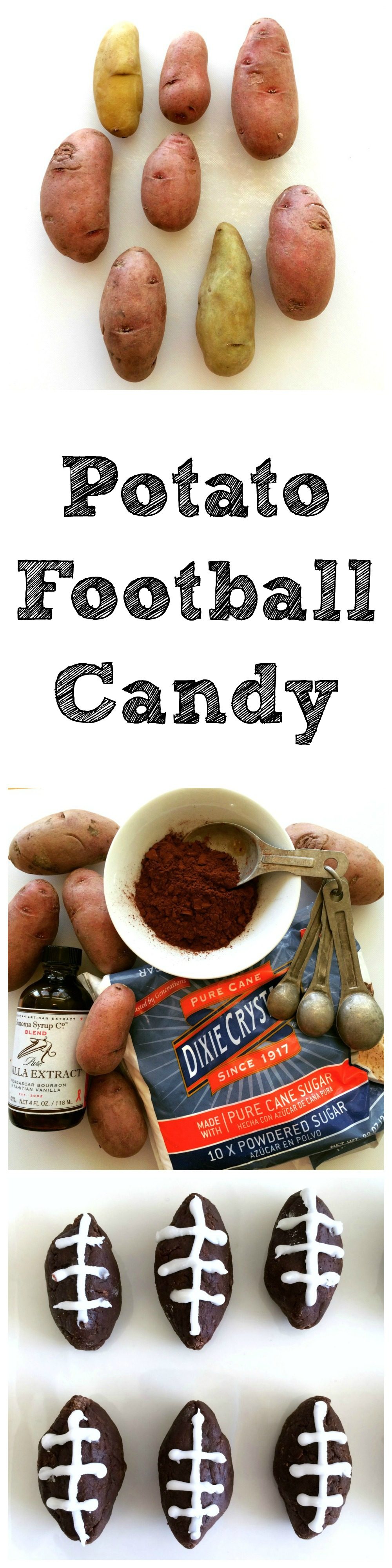 Potato Football Candy recipe for game day on ShockinglyDelicious.com