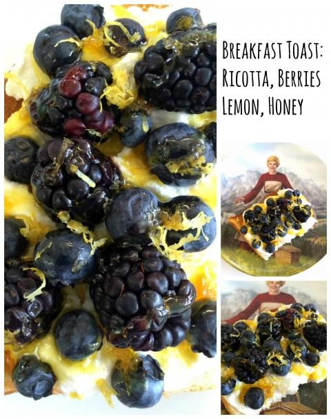 Sourdough Breakfast Toast with Ricotta Berries Lemon Zest and Honey on ShockinglyDelicious.com