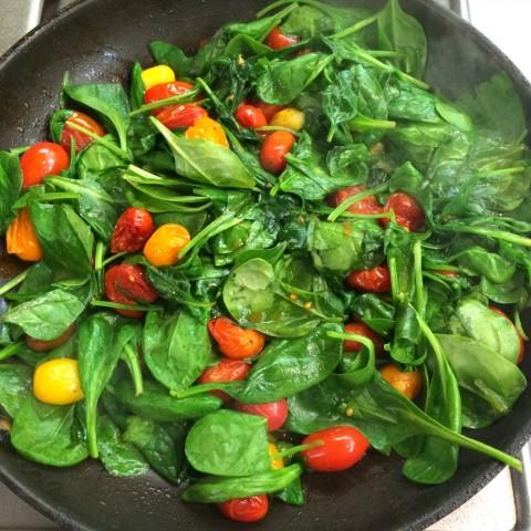 Spinach and Cherry Tomato Saute recipe on ShockinglyDelicious.com