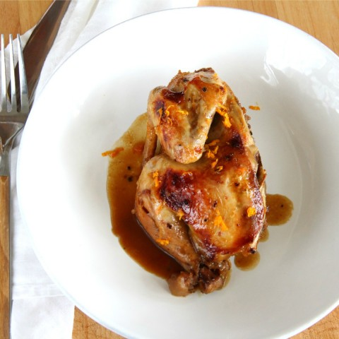 Slow Cooker Cornish Game Hens with Cointreau Orange Sauce on ShockinglyDelicious.com