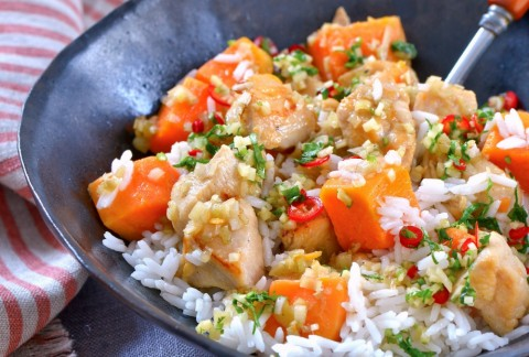 Sweet Potatoes with Chicken and Lemongrass: A simple, thin-bodied stew that showcases lemongrass and sweet potatoes has only 4 basic ingredients, making it ideal for weeknight dinners. It is inspired by the Hmong community of Minnesota.