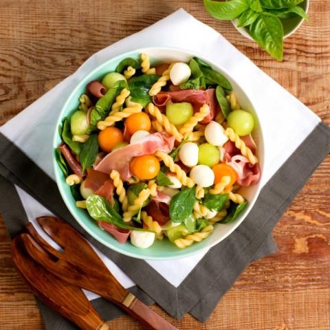 Easy Melon Prosciutto Pasta Salad