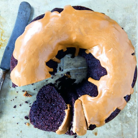 Fudgy Chocolate Bundt Cake with Coffee Glaze