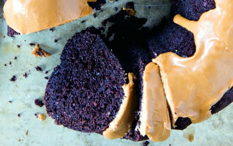 Fudgy Chocolate Bundt Cake with Coffee Glaze -- the name says it all with this perfectly chocolaty dessert topped with chocolate's best friend, coffee. Passover-friendly, or good anytime you need a rich chocolate cake. Make it in a Bundt or a 9x13-inch pan.