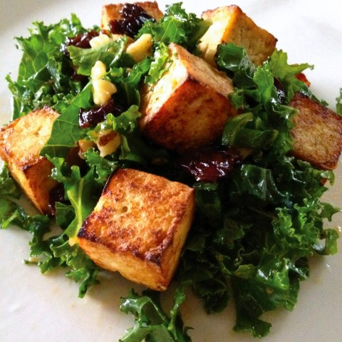 Kale Salad with Cherries, Walnuts and Tofu Croutons by Corinne Trang