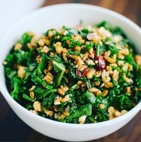 Kale and Spelt Berry Salad with Sweet Cranberries and Lemon Dressing