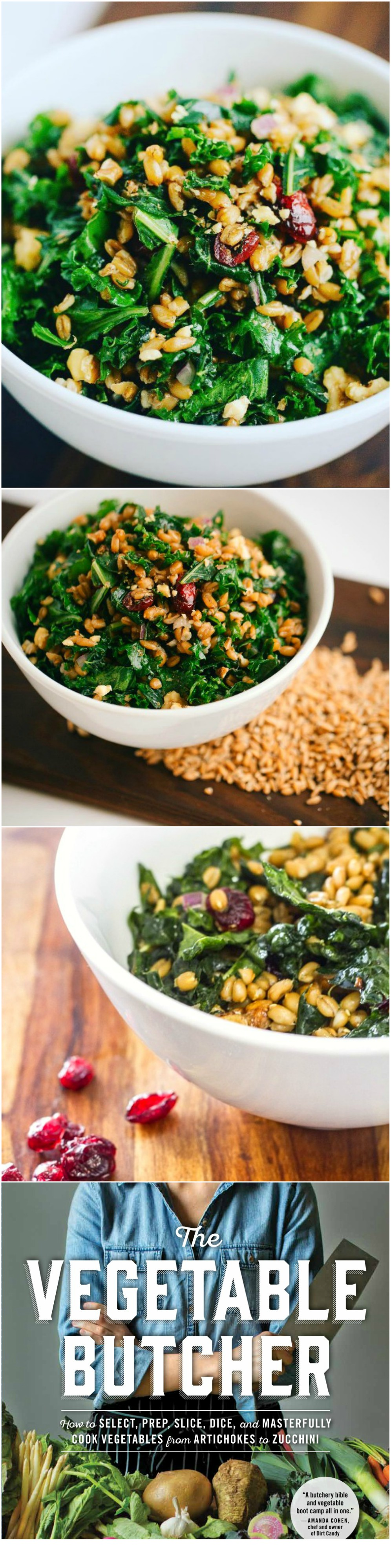 Photo collage of Kale and Spelt Berry Salad with Sweet Cranberries and Lemon Dressing by Cara Mangini of Little Eater Restaurant in Columbus, Ohio