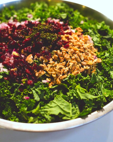 Kale and Spelt Berry Salad with Sweet Cranberries and Lemon Dressing from Little Eater