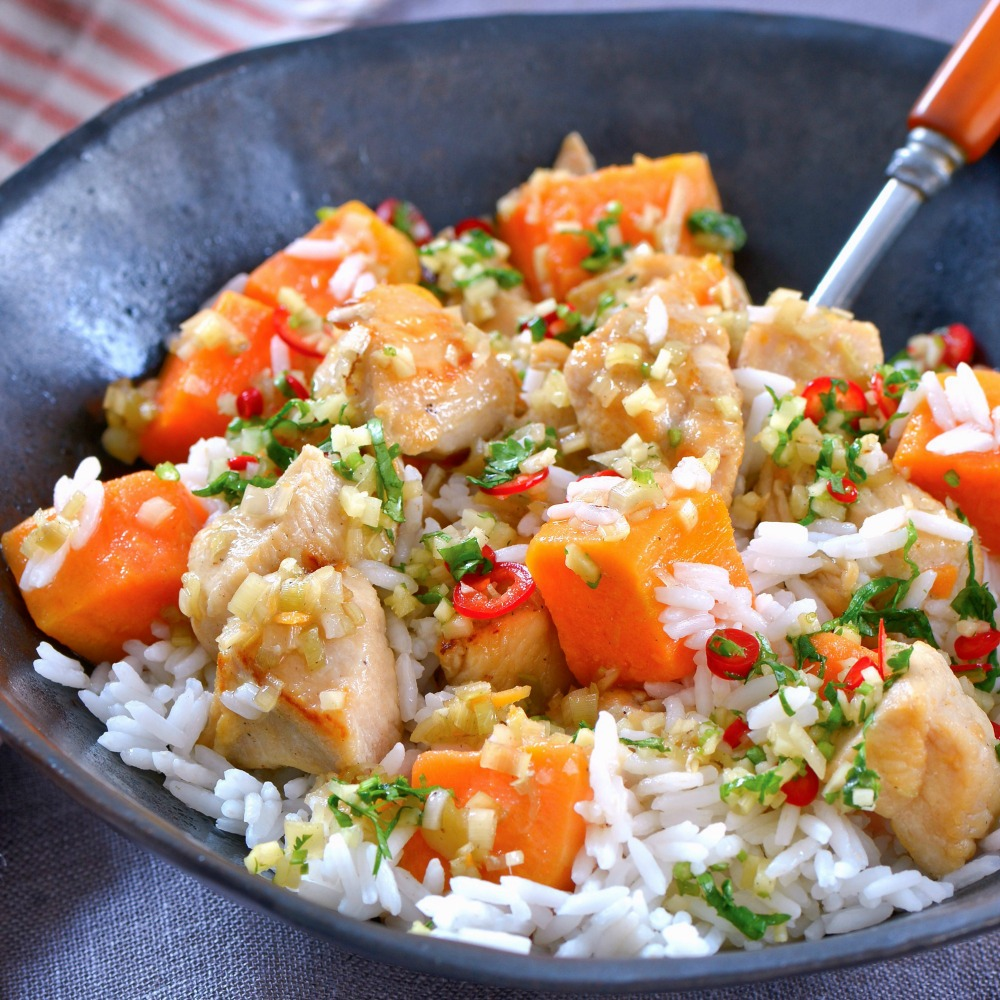 Sweet Potatoes with Chicken and Lemongrass