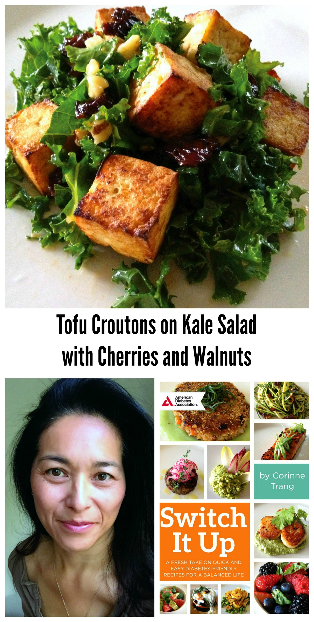 Tofu Croutons on Kale Salad with Cherries and Walnuts