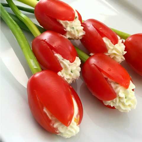 Grape Tomato Cream Cheese Tulips on a white plate
