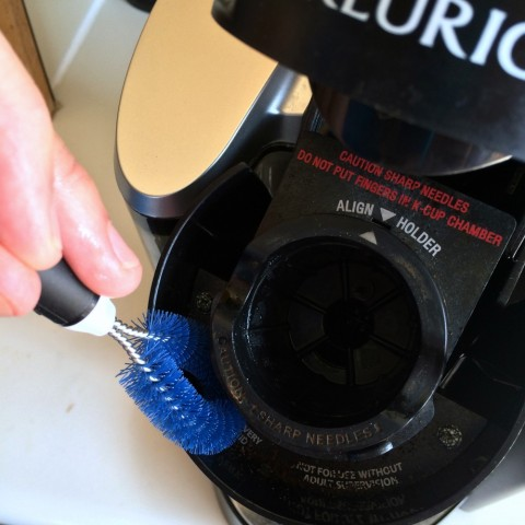 Kitchen Appliance Cleaning Set being used on a Keurig