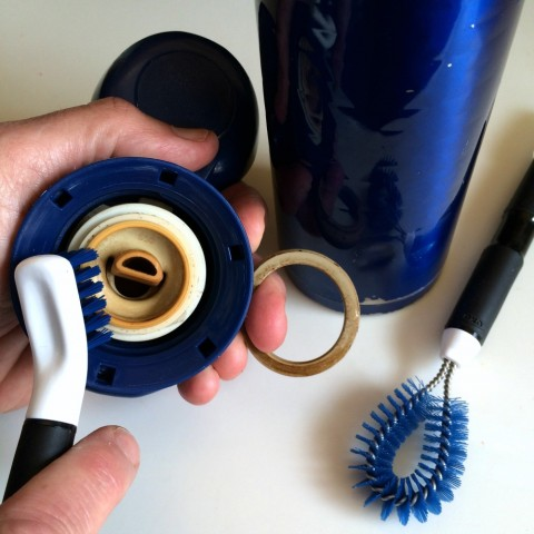 Kitchen Appliance Cleaning Set being used on a coffee thermos