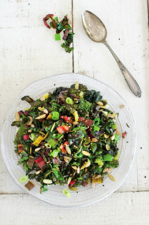 Spicy Kale and Swiss Chard Saute