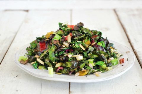 Spicy Kale and Swiss Chard Saute: This easy, nutritious greens side dish gets extra flavor from sesame oil, a jolt of heat from jalapeño and crunch from three kinds of seeds. You'll serve this frequently.