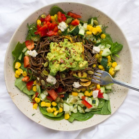 Vegan Spicy Southern California Black Bean Spaghetti Salad