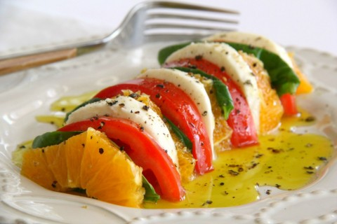 California Caprese Salad: A classic caprese gets a California twist with the addition of sliced oranges, which go surprisingly well with tomatoes and basil. Fresh mozzarella smoothes everything out.
