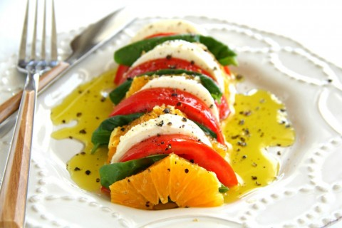 California Caprese Salad summer recipe on ShockinglyDelicious.com