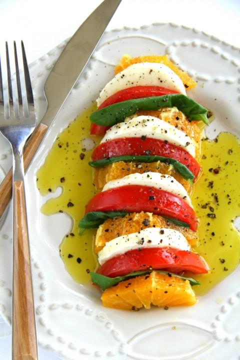 Vegetarian California Caprese Salad Recipe on ShockinglyDelicious.com
