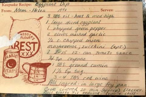 Eggplant dip recipe from Helen Reinhold