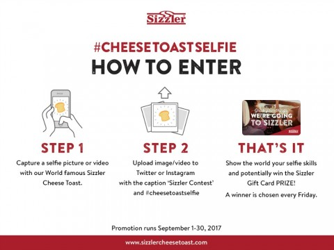 Sizzler Cheese Toast Selfie contest - How To Enter