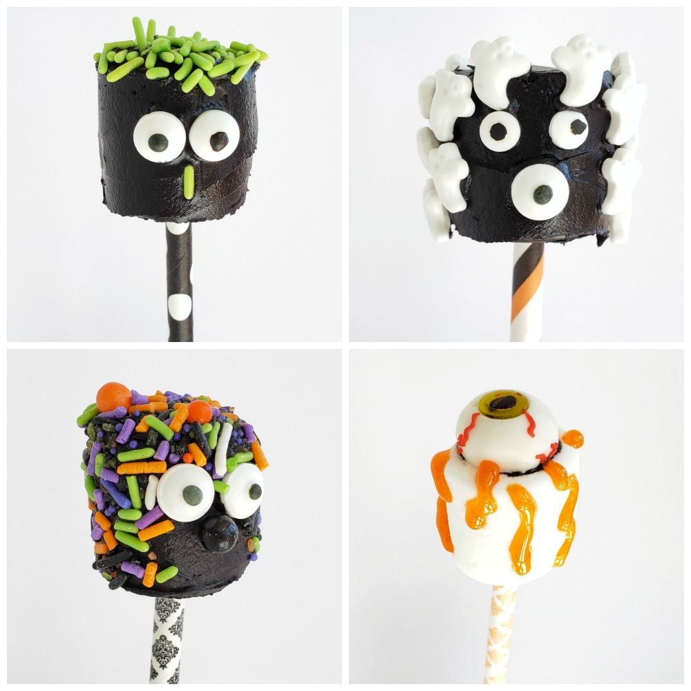 4 black decorated Monster Marshmallow heads on ShockinglyDelicious.com
