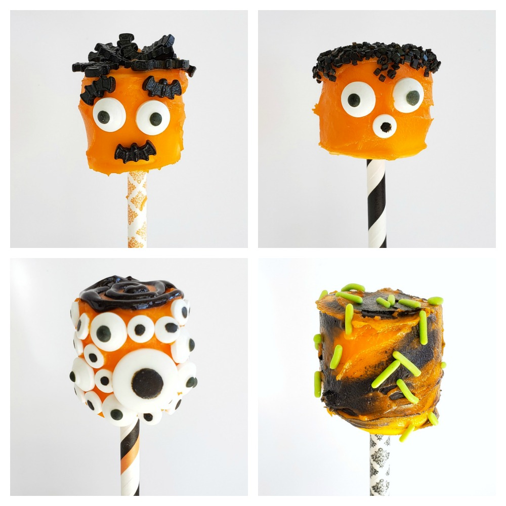 4 orange Monster Marshmallows heads on ShockinglyDelicious.com