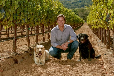 Cameron Hughes in the Vineyard with his Dogs