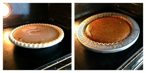 Sara Lee Pumpkin Pie baking in the oven
