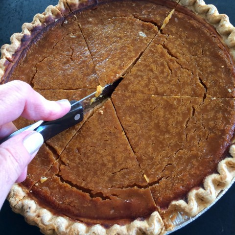 Sara Lee Pumpkin Pie being cut into pieces