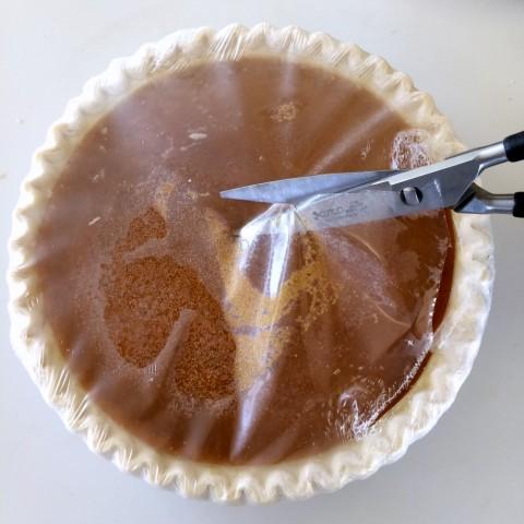 Sara Lee Pumpkin Pie cut the plastic off
