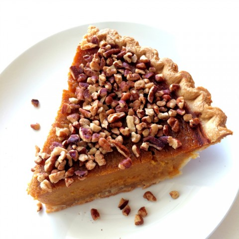 Sara Lee Pumpkin Pie topped with chopped pecans