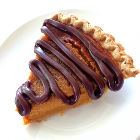 Sara Lee Pumpkin Pie topped with fudge sauce