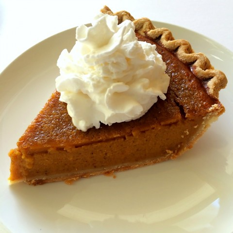 Sara Lee Pumpkin Pie topped with whipped cream