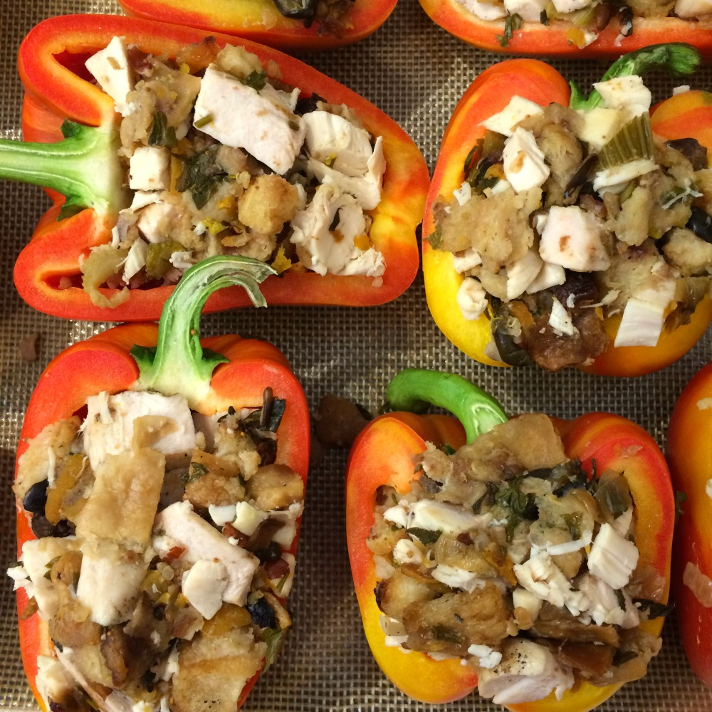Turkey and Stuffing Stuffed Peppers ready for the oven