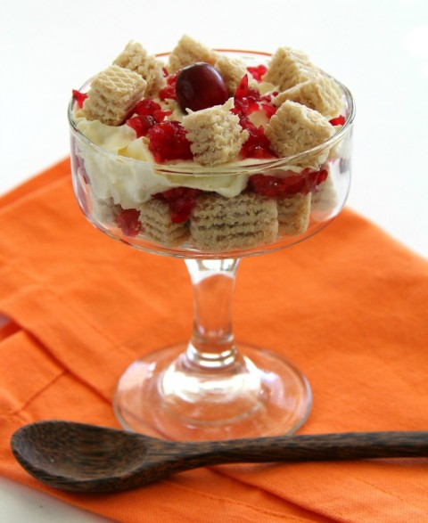 Easy Vanilla Cookies and Cream Parfait with Cranberry-Ginger Relish